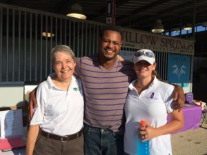 Tucker, left, with Tamio Holmes and massage therapist Courtney Davis.