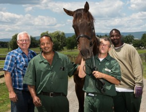 The Thoroughbred Retirement Foundation's Jim Tremper, left, has taught inmates to care for Thoroughbreds since 1984. Photos by Michael Bloom
