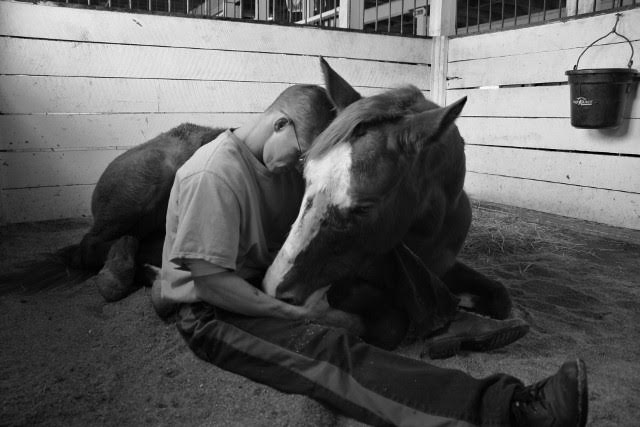 Will Wilson, a former inmate with the James River Work Center in Virginia, shares a moment with Hap's Online. Today, Wilson is a professional farrier. Photo by Karen Ryan